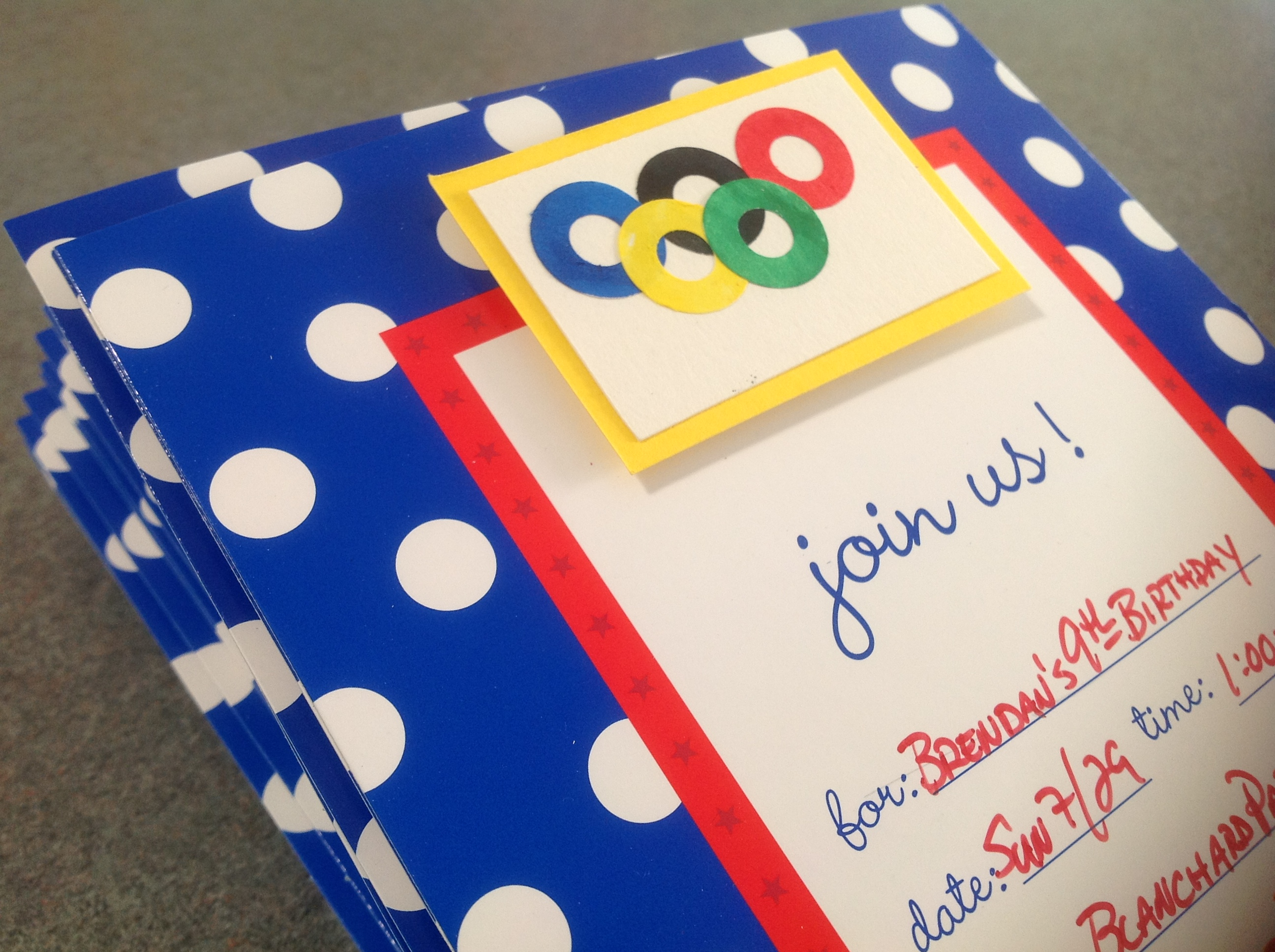 Olympic themed invitations for a birthday party.