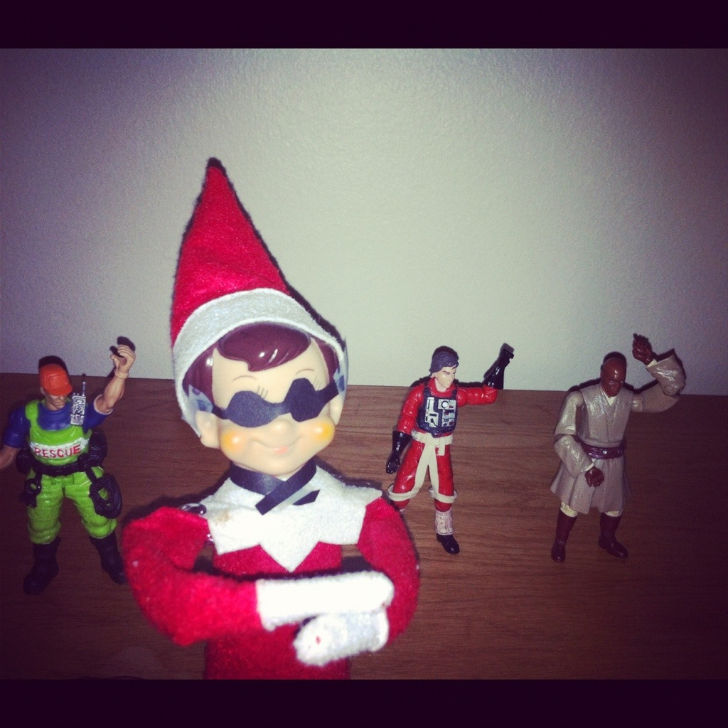 our elf on the shelf is getting naughty but creative