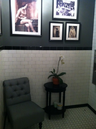 The woman's bathroom inside the Pharmacy restaurant.