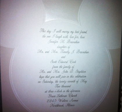 Mickey Mouse-themed wedding invitation.