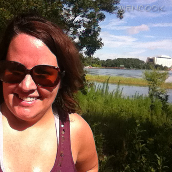 Sweaty selfie along the Disney nature trail.  Check out Disney's Contemporary Resort in the background.