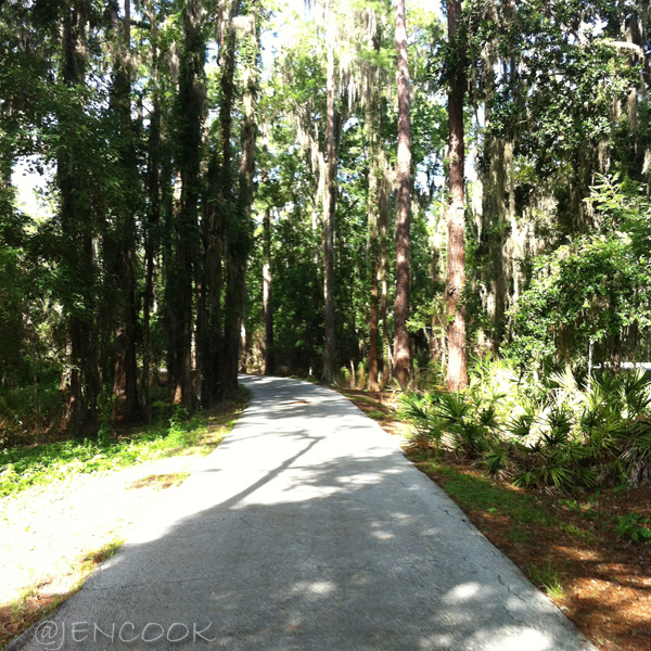 The paved trail between Disney's Wilderness Lodge and Fort Wilderness Campground.