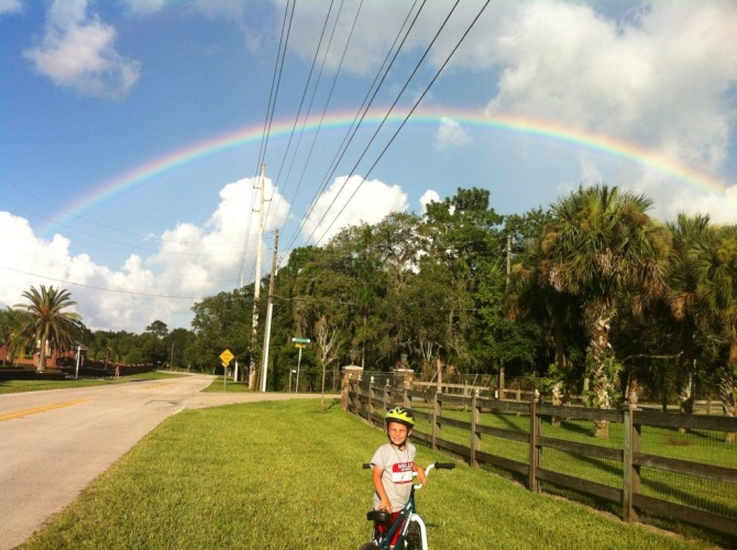 Patrick under the rainbow.