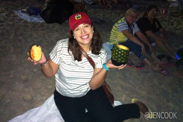 Beach + Pineapple drink = perfect 4th!
