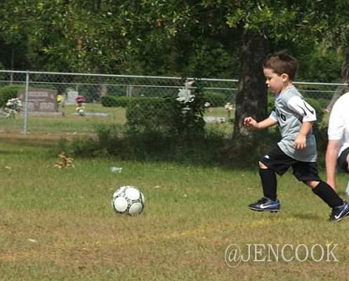 Brendan playing soccer at age 3.