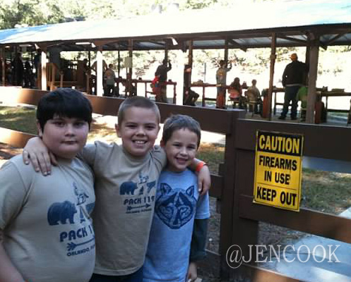 Brendan with school friends Danny and Joey at Cub Scout Camp.