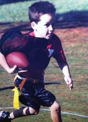 Brendan goes in for a touchdown.