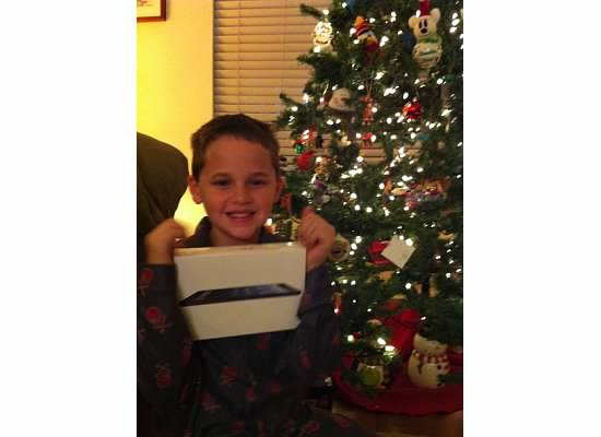 Brendan and his iPad on Christmas morning.