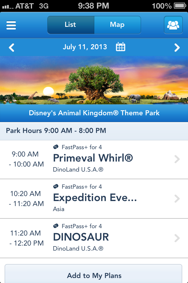 MyMagic+ Fast Pass scheduling
