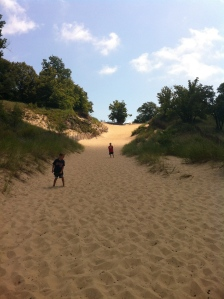 Climbing up the devil's slide at the Indiana dunes.
