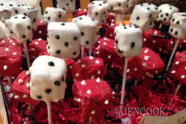 Casino dice cake pops