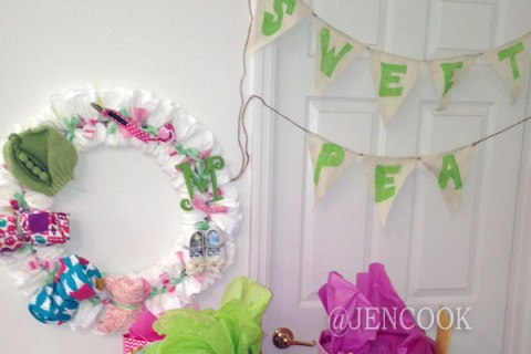 Sweet Pea banner, wreath and present table.